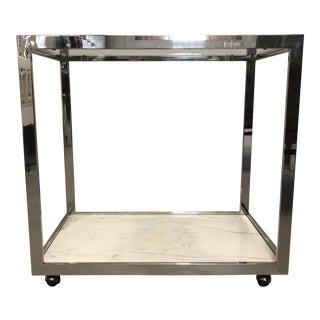 1970s Milo Baughman Style Chrome Bar Cart For Sale