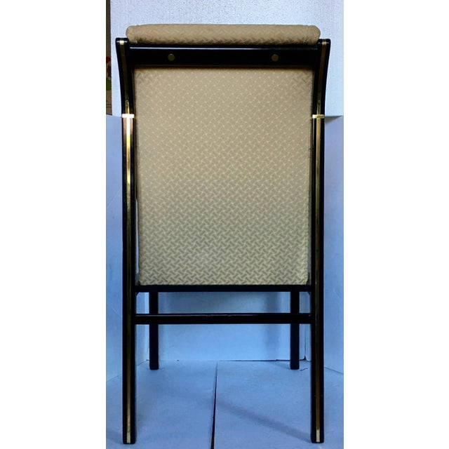 Mid-Century Modern 1970's Mastercraft Dining Chairs, Black and Brass, Set of Six For Sale - Image 3 of 11