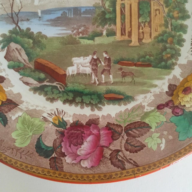 Wedgwood Antique Wedgwood Transferware Neoclassical Floral Ceramic Plate For Sale - Image 4 of 11