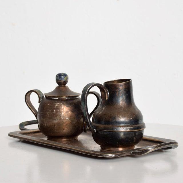 1970s Mexican Mid-Century Los Castillo Silverplate & Malachite Azurite Stone Coffee Tea Serving Set - 3 Pc. For Sale - Image 5 of 11