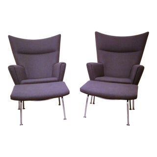 Pair of Hans Wegner Ch445 Carl Hansen & Son Wing Lounge Chairs and Ottoman For Sale