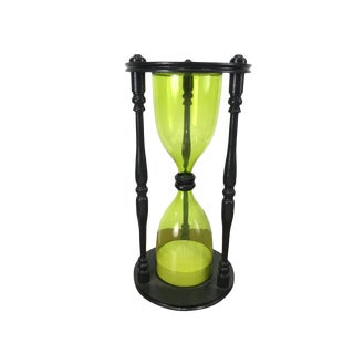 Vintage Green Glass Hourglass For Sale