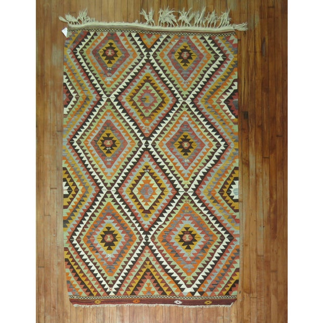 Mid 20th Century One of a Kind Turkish Kilim Flatweave. 5 X 7'5''. For Sale - Image 5 of 5