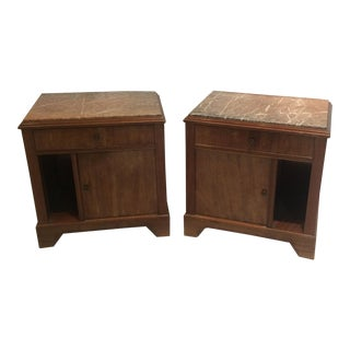 French Art Deco Side Tables with Marble Tops - A Pair For Sale