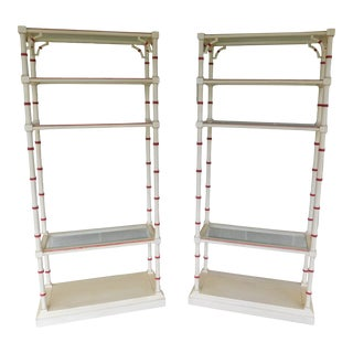Lane Faux Bamboo Paint Decorated Etagere Display Shelves - a Pair For Sale