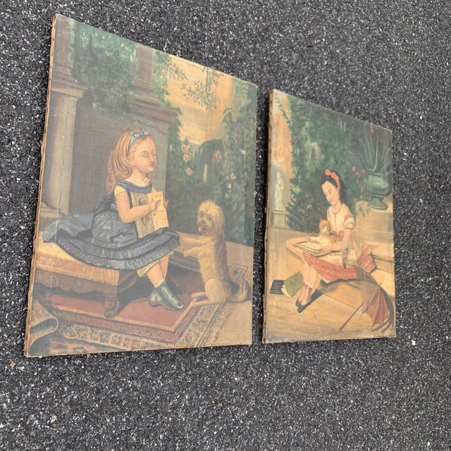 """19th CenturyFolk Art Paintings, """"Learning to Read and to Write"""" With a Dog and a Cat - a Pair For Sale - Image 12 of 13"""
