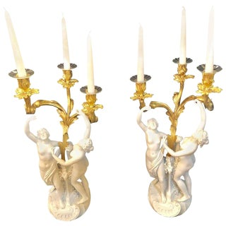 Pair of French Louis XVI Style Sevres Bisque Marked Figural Candelabra For Sale