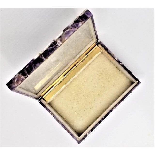 Metal Vintage Amethyst Jewelry Keepsake Box - Magnificent Gemstone Semi-Precious Rock Crystal - Mid Century Modern Palm Beach Chic Alabaster Marble For Sale - Image 7 of 13