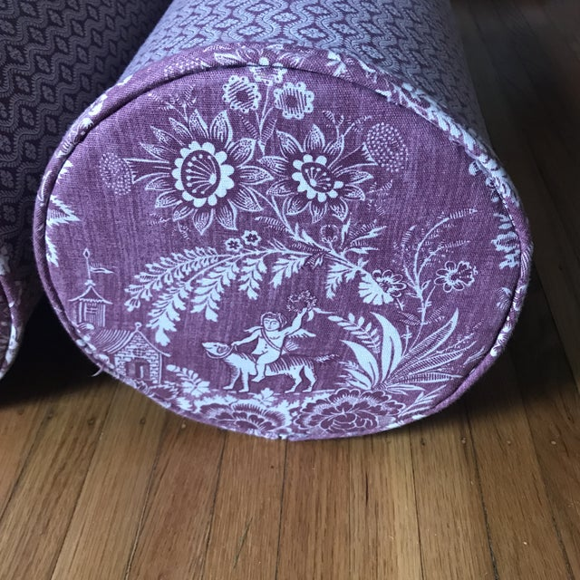 Fabric Pierre Deux Floral Custom Neck Bolster Pillows - a Pair For Sale - Image 7 of 13