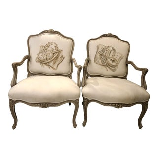 Italian Mid-Century Louis XV Style Hand-Painted Fauteuils - a Pair For Sale