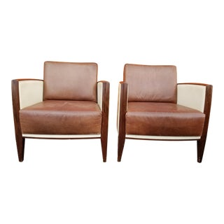 1960s Art Deco Two Tone Club Chairs - A Pair