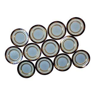 Mintons Dinner Plates Cobalt Blue & Raised Gold Service Cabinet - Set of 11 For Sale