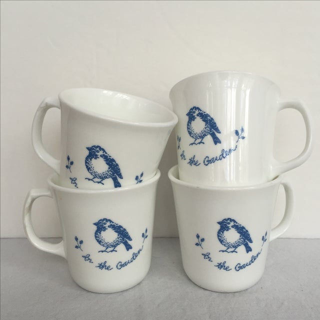 Vintage Blue & White Coffee Cups - Set of 4 - Image 6 of 11