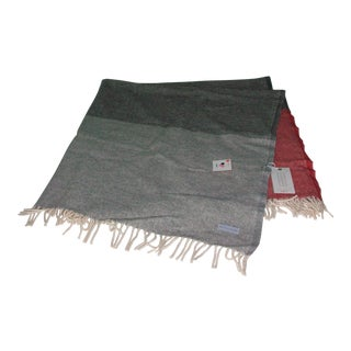 Cannon River Faribault Mills Gray Red Striped Wool Throw Blanket
