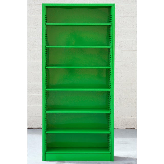 Industrial 1970s Tall Steel Tanker Bookcase, Refinished in Lime Green, Custom Order For Sale - Image 3 of 5