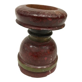 Carved Wood Painted Candlestick