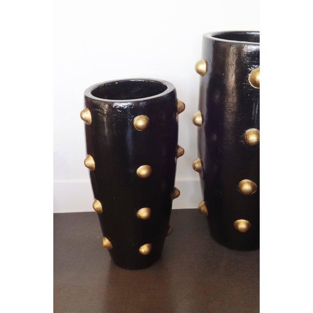 Unique Pair of Black and Gold Sculpture Planters For Sale - Image 4 of 8