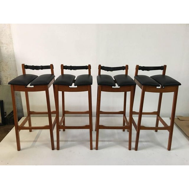 Mid-Century Modern Set of 4 Leather Strap Danish Barstools For Sale - Image 3 of 7