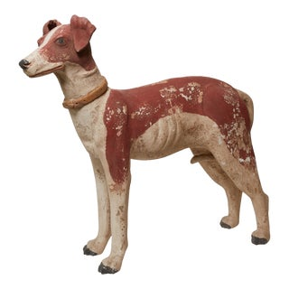 1940s Mexican Painted Terra Cotta Dog Statue For Sale