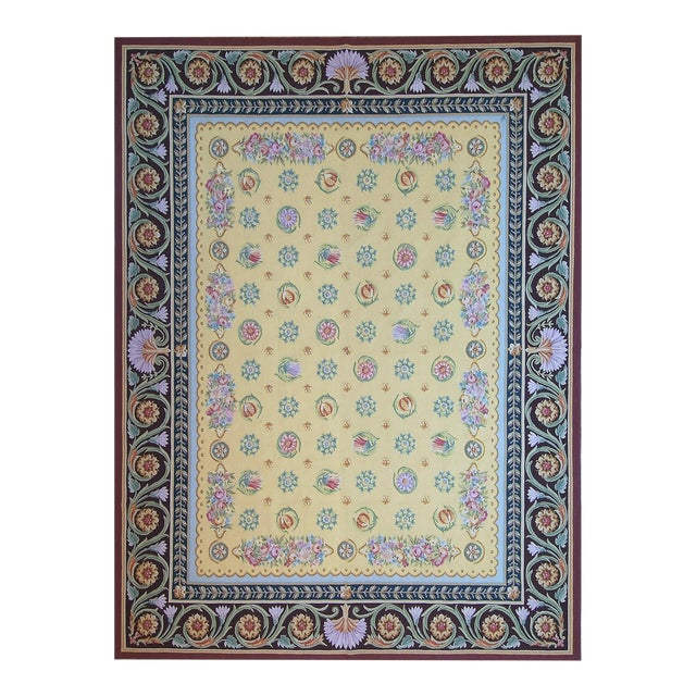"Pasargad Aubusson Hand Woven Wool Rug - 9' 0"" X 11'11"" For Sale"