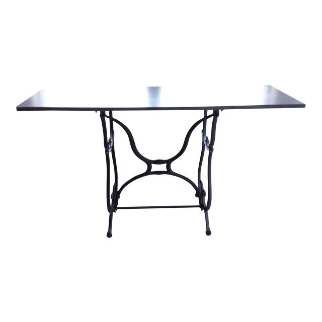 Wrought Iron & Slate Top Console Table For Sale