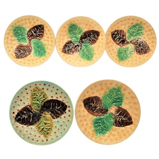 Vintage Holdcroft Majolica Plates - Set of 5 For Sale