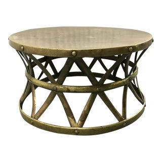 1970s Hammered Brass Coffee Table For Sale
