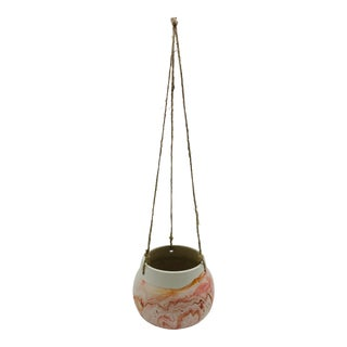 1970s Nemadji Red and Orange Clay Pottery Hanging Cachepot Planter For Sale