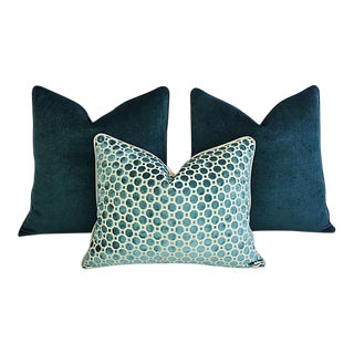 Custom Tailored Marine Green/Turquoise Velvet Feather/Down Pillows - Set of 3 For Sale