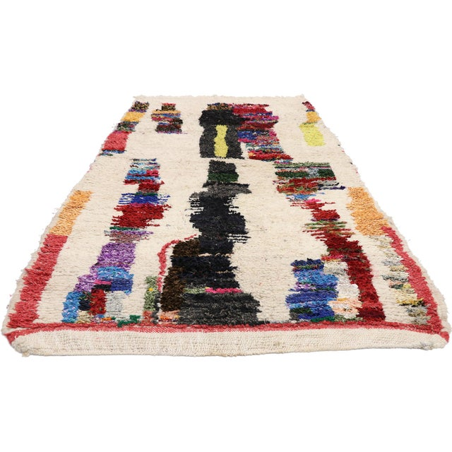 Abstract Expressionism Vintage Berber Boucherouite Moroccan Azilal Rug - 03'09 X 07'03 For Sale - Image 3 of 10