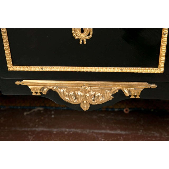 Black Maison Jansen Marble-Top Ebonized Commode Heavy Bronze Mounts Louis XVI Style For Sale - Image 8 of 11