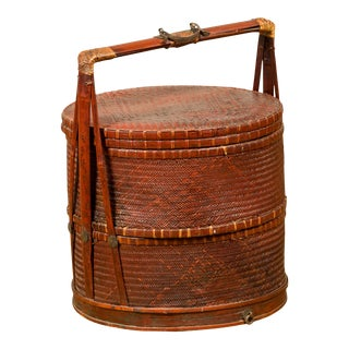 Antique Chinese Rattan and Bamboo Nested Lunch Basket with Carved Handle For Sale