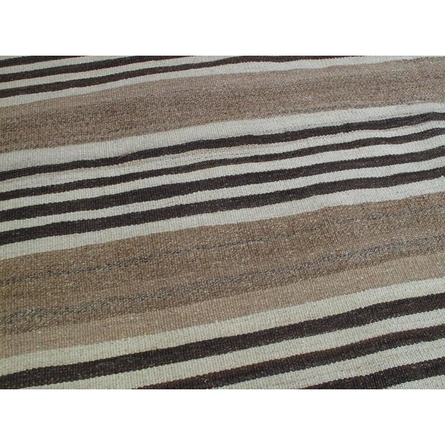 1950s Striped Kilim Wide Runner in Natural Brown For Sale - Image 5 of 9