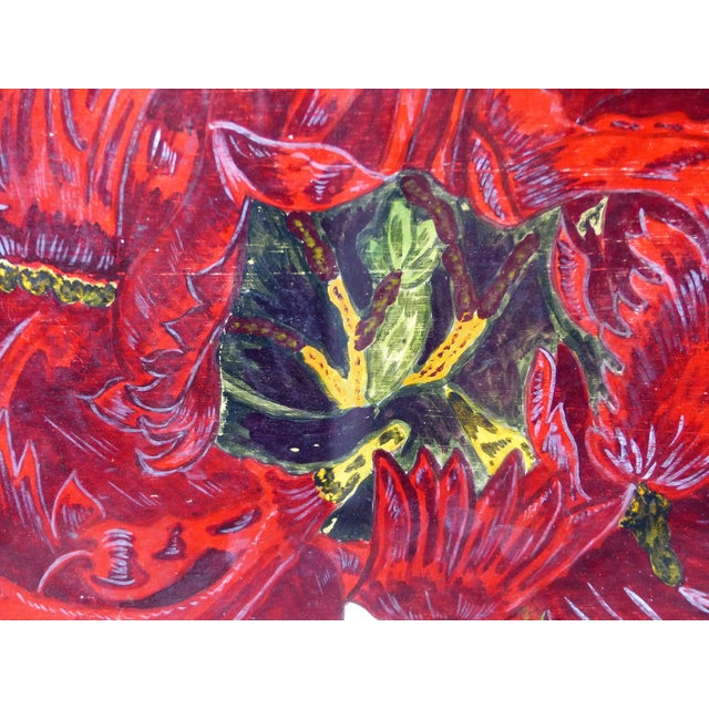 Traditional Vintage Red Tulip Flower Original Painting For Sale - Image 3 of 8