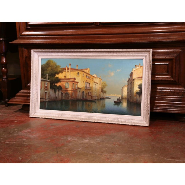 Blue Early 20th Century French Venice Framed Oil Painting Signed Alphonse Lecoz For Sale - Image 8 of 11