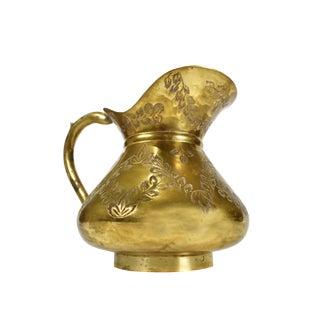 Unique Handmade Hand Engraved Solid Brass Floral Design Pitcher Vase Ewer For Sale