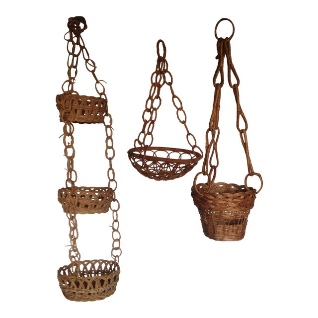 Vintage Plant Hanging Baskets - S/3 - Image 1 of 7