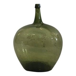 17th Century French Green Blown Glass Demijohn