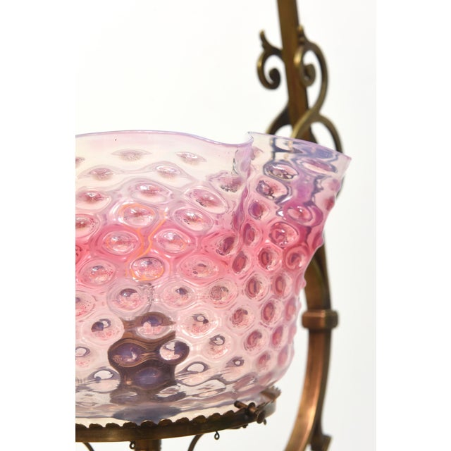 Metal Ruffled Pink Hobnail Lantern For Sale - Image 7 of 11
