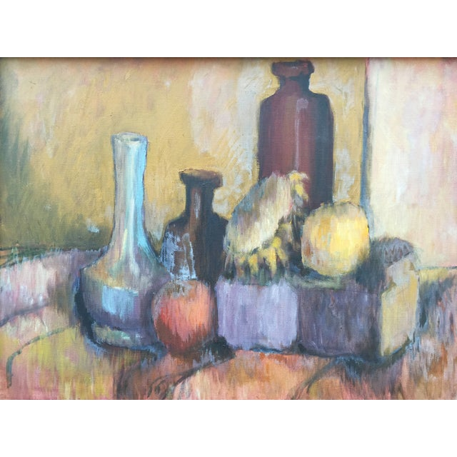 Mid Century oil on canvas still life of bottles and fruit. Painted by Joan Adams, unsigned, from a Boston collection of...