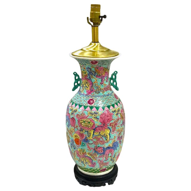 Exquisite Chinese Famille Rose Foo Dog Motif Vase, Now as a Lamp For Sale