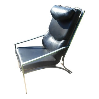 Mid-Century Modern Shiny Aluminum and Vinyl Hi-Back Lounge Chair For Sale