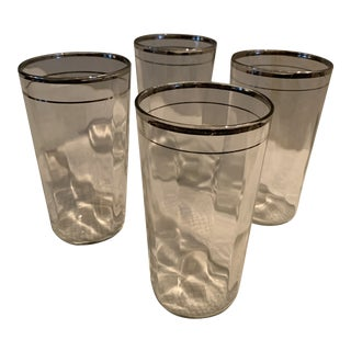 1960s Silver Trimmed Glass Barware - Set of 4 For Sale