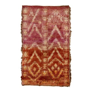 "1940s Vintage Moroccan Wool Rug - 5'8"" X 9'8"" For Sale"