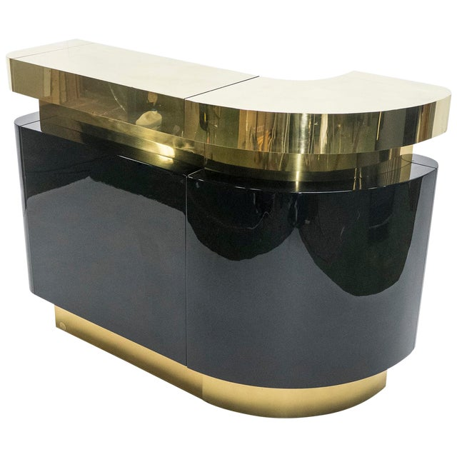 Unique French Hollywood Regency Lacquer Brass Bar Cabinet j.c. Mahey, 1970s For Sale