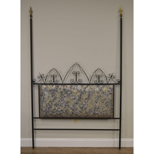 Black Hollywood Regency Mid Century Iron Full Size Poster Headboard For Sale - Image 8 of 13