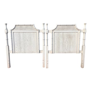 Chinoiserie Faux Bamboo and Cane Pagoda Twin Headboards - a Pair For Sale