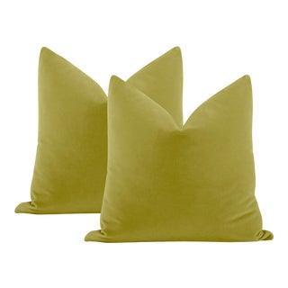 "22"" Chartreuse Italian Velvet Pillows - a Pair For Sale"