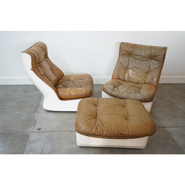 1970s Pair of Leather Chairs and Single Ottoman, Sold as a Set For Sale - Image 5 of 10