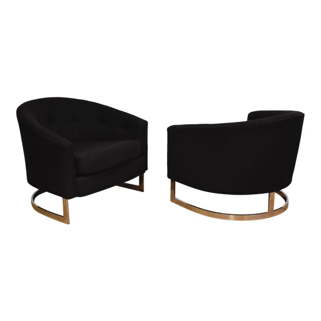 Black & Chrome Barrel Back Lounge Chairs- a Pair For Sale
